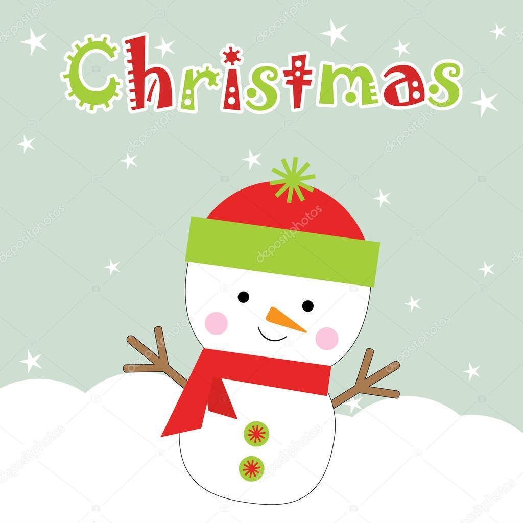 Weihnachten Illustration mit niedlichen Schneemann auf Sterne ...