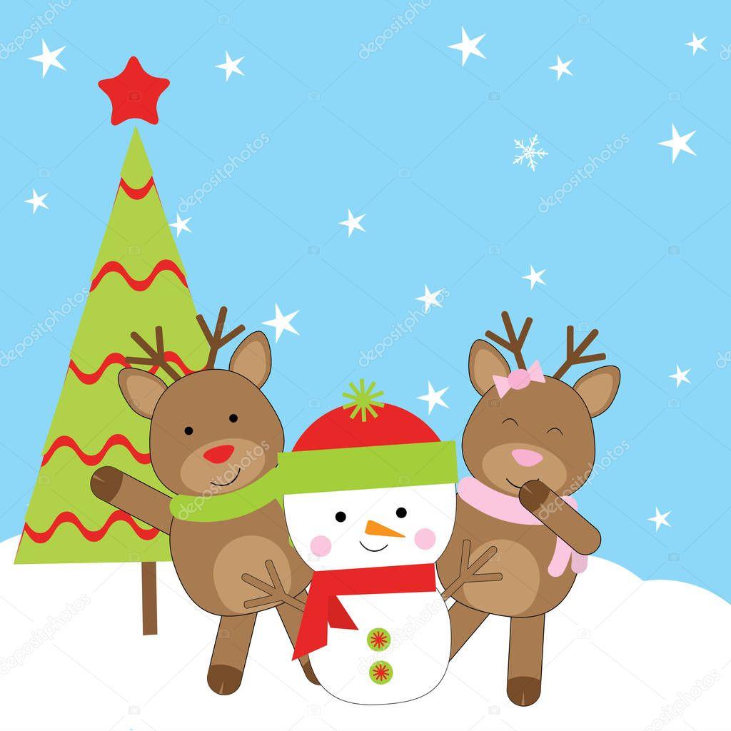 Ilustración De Navidad Con Muñeco De Nieve Lindo El Ciervo