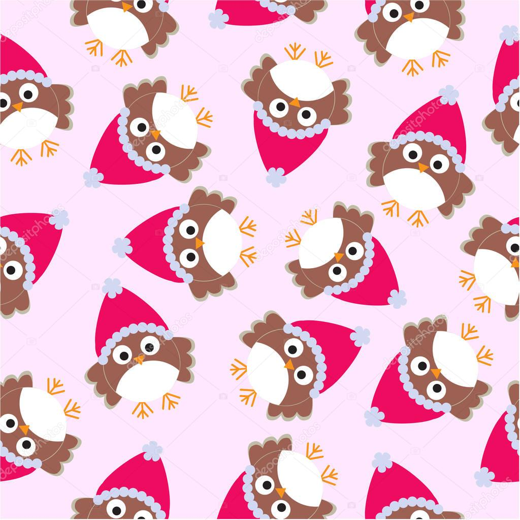 Owl Wallpaper Cute Seamless Background Of Christmas Illustration