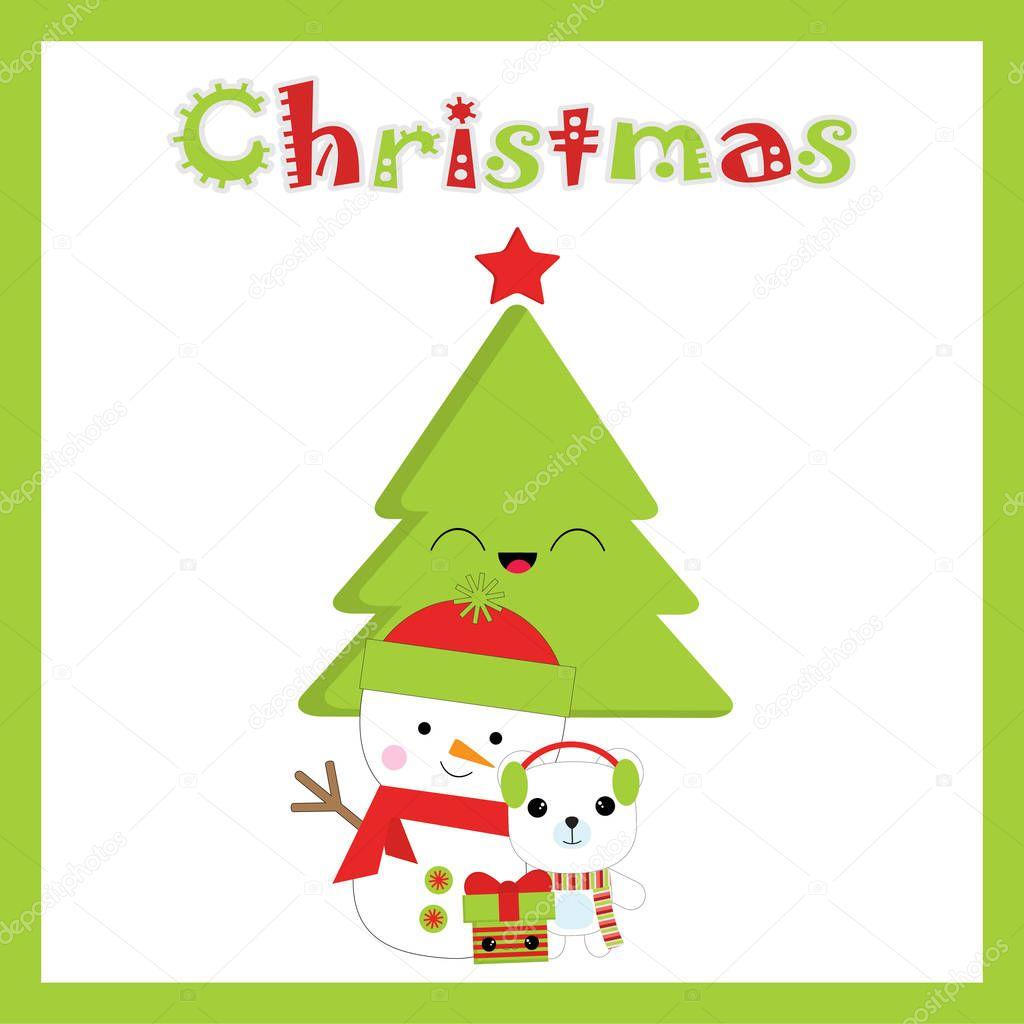Weihnachten Illustration mit niedlichen Schneemann, Bär und ...