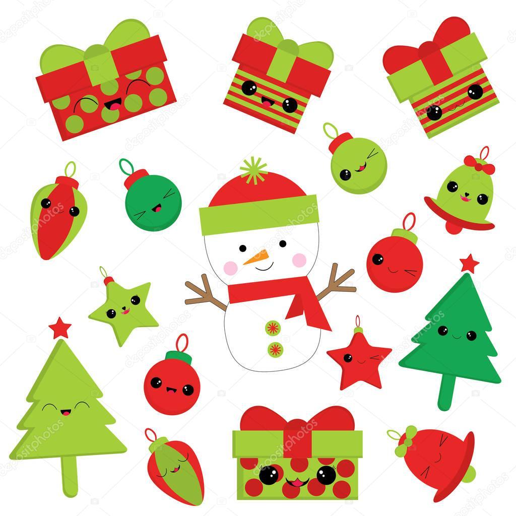 Weihnachten-Abbildung mit niedlichen Schneemann, Bell, Geschenk ...