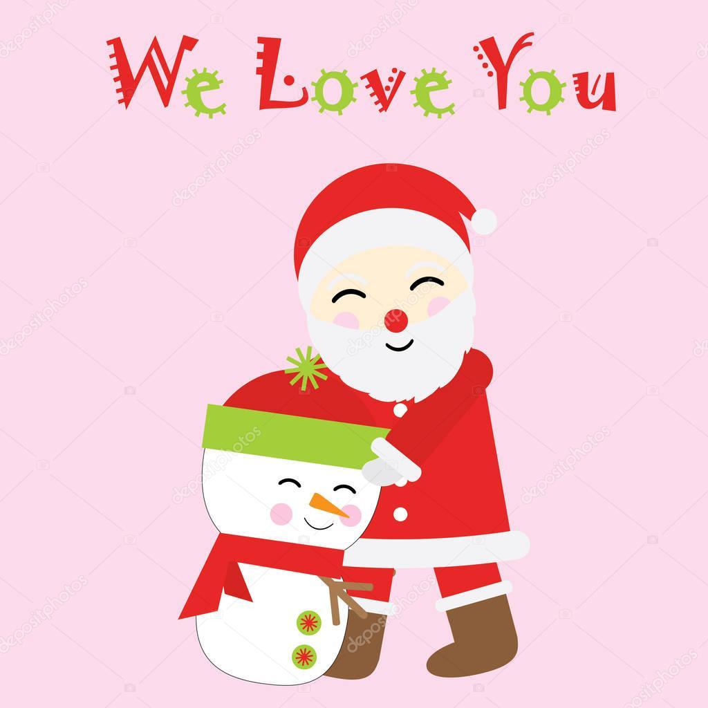 Weihnachten-Abbildung mit niedlichen Weihnachtsmann und Schneemann ...