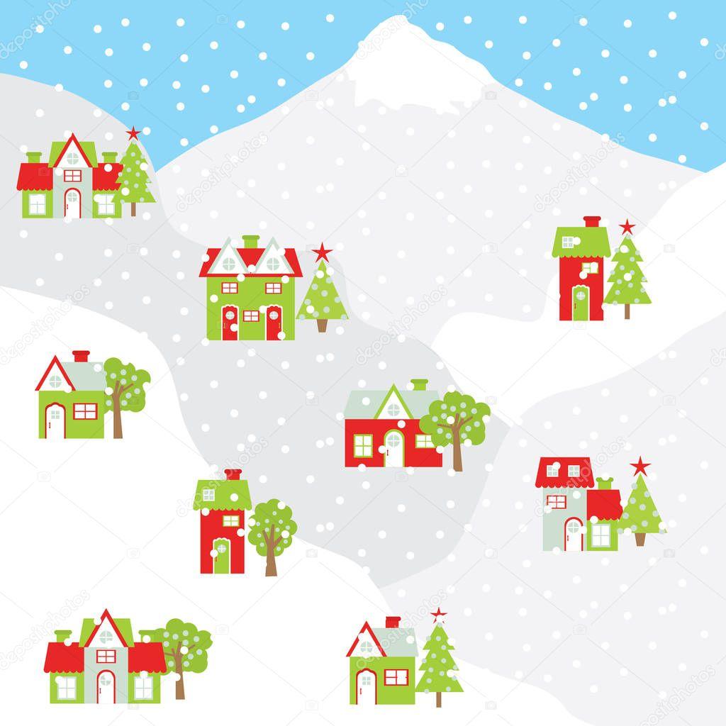 Weihnachten Illustration mit bunten Haus auf dem Berg mit Schnee ...