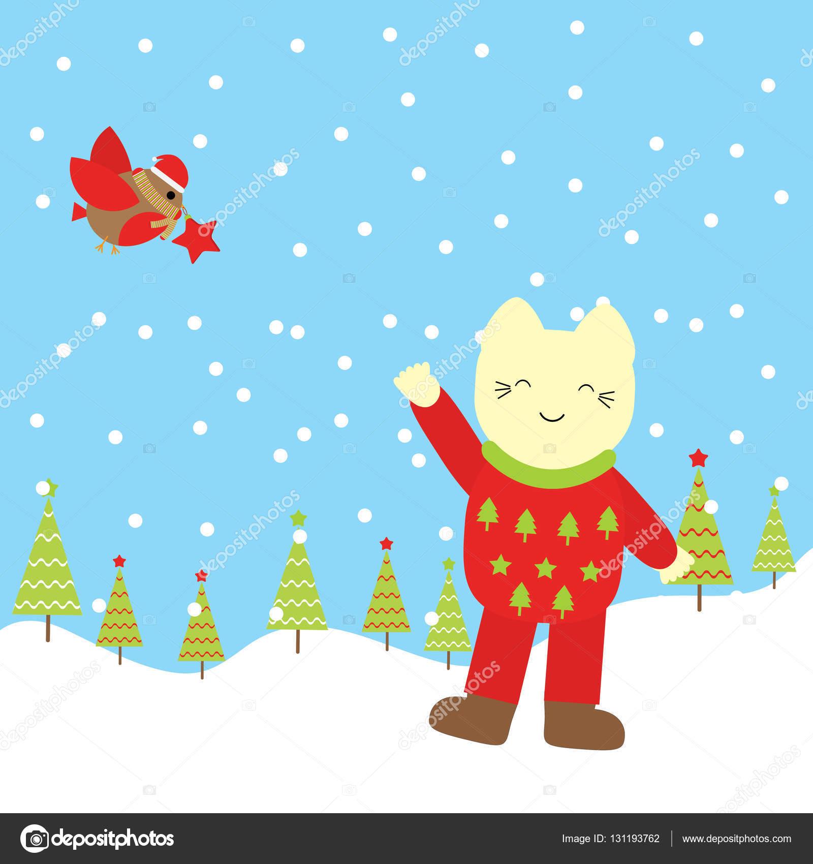 クリスマス イラストかわいい猫と子供クリスマス壁紙ポストカード