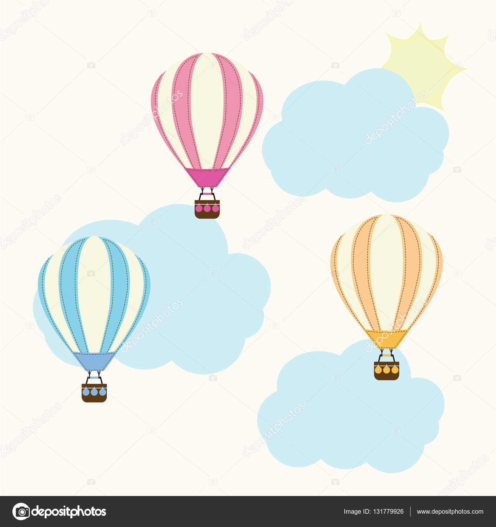 Baby Shower illustration with cute hot air balloon on sky