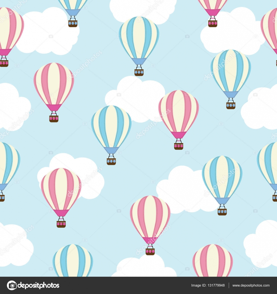Seamless background of baby shower illustration with cute hot air ...
