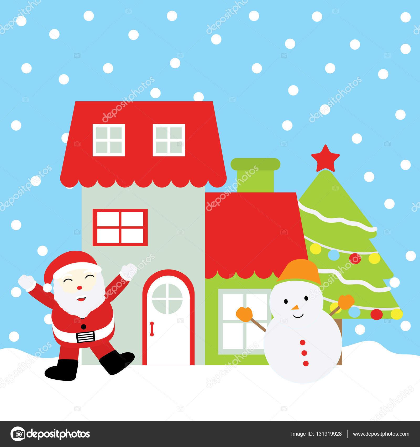 Weihnachten Illustration mit niedlichen Schneemann, Weihnachtsmann ...