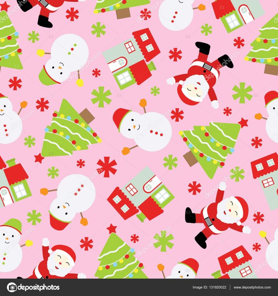 Nahtlose Hintergrund Weihnachten Illustration mit niedlichen ...