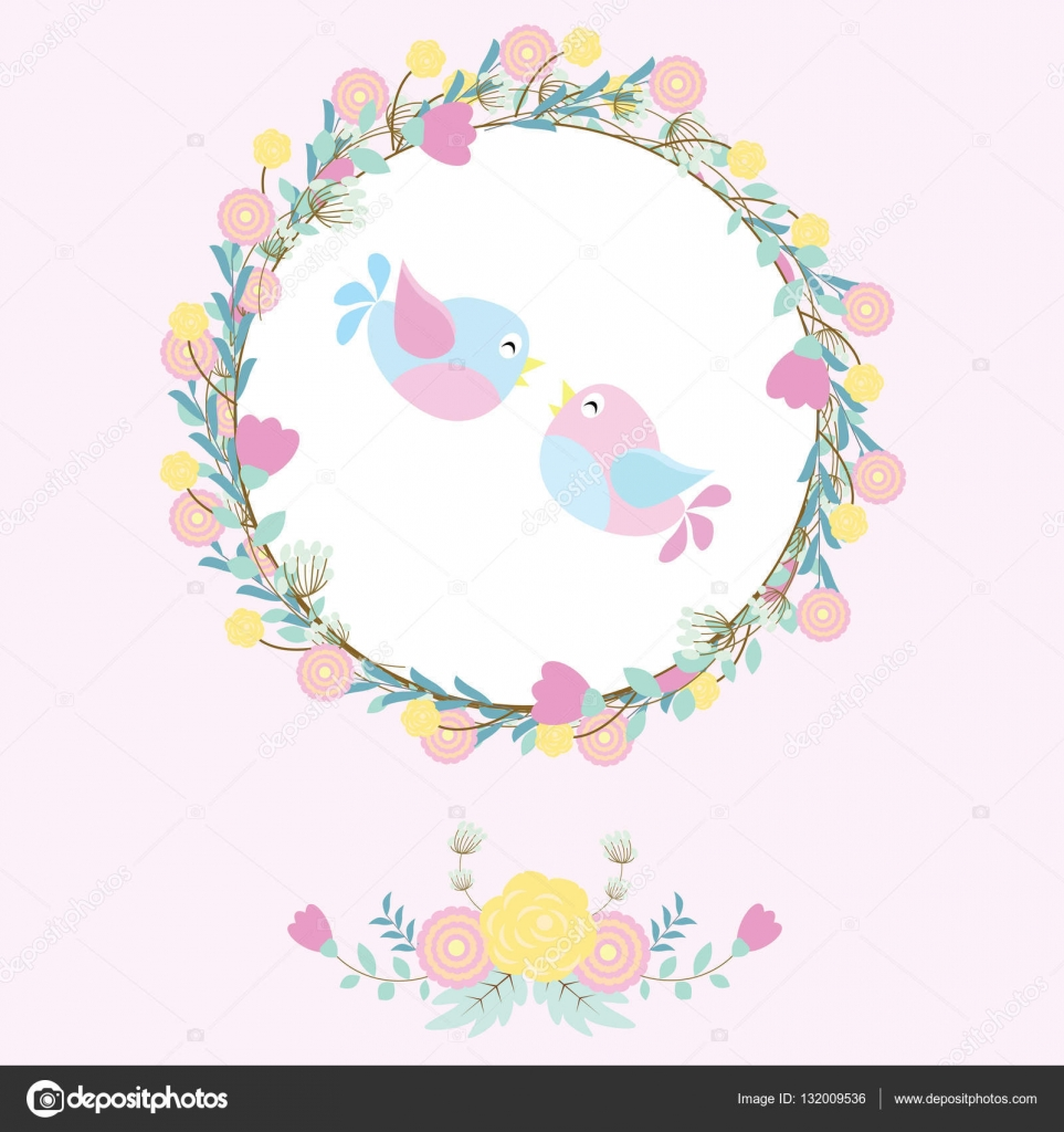 Wedding illustration with cute birds and flower wreath suitable for wedding illustration with cute birds and flower wreath suitable for wedding invitation card wallpaper and stopboris Image collections