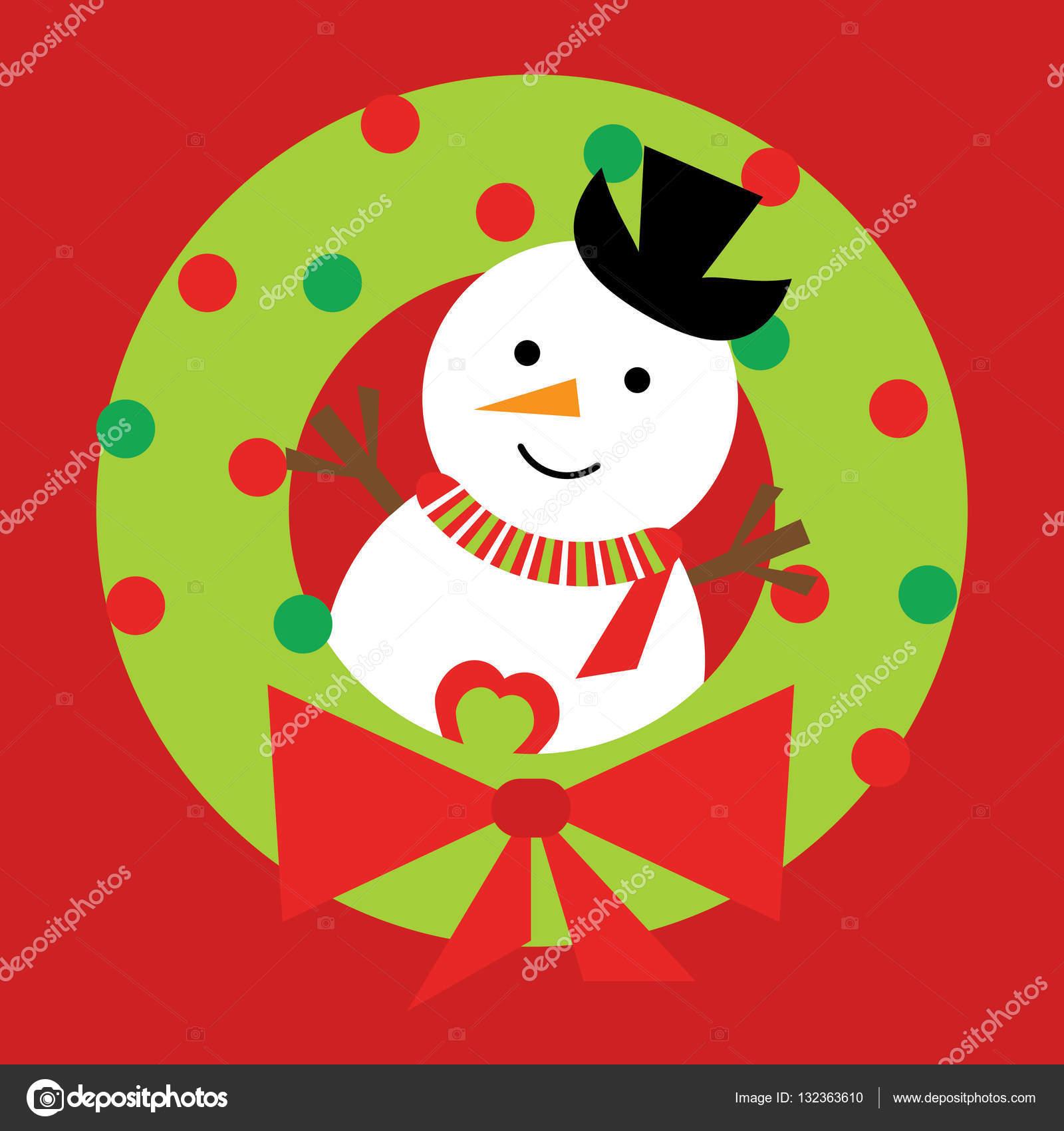 Weihnachten Illustration mit niedlichen Schneemann auf Weihnachten ...