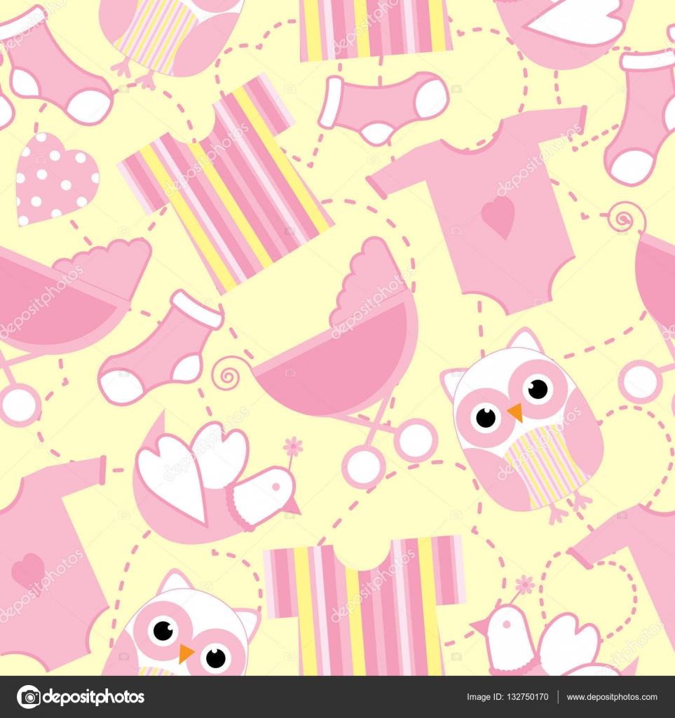 Background Baby Shower Girl Backdrop Seamless Background Of Baby Shower Illustration With Cute Pink Baby Tools And Owl On Yellow Background Suitable For Baby Wallpaper Postcard And Scrap Paper Stock