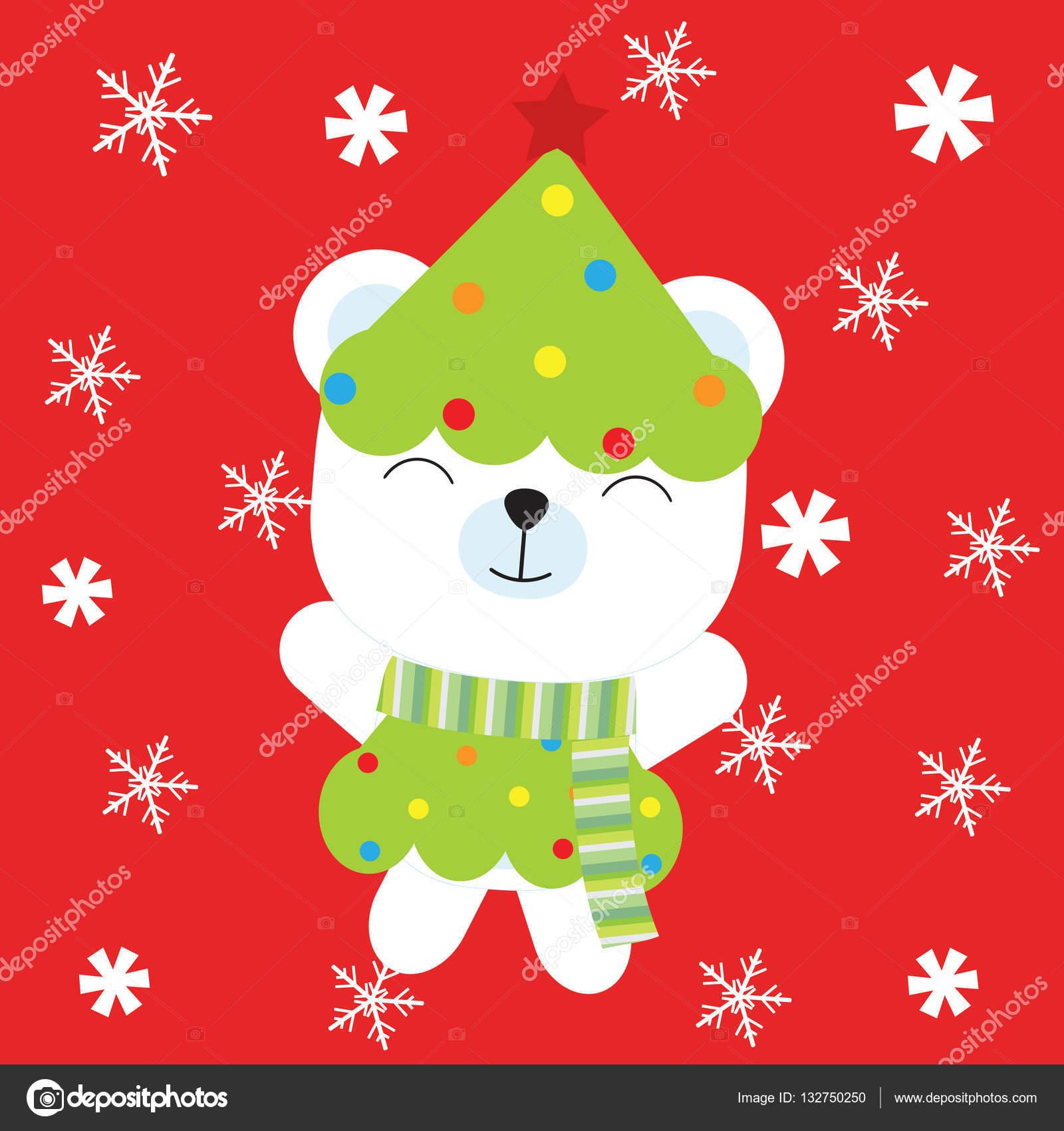Foto Tarjeta Navidad Personalizada Ilustracion De Navidad Con Oso - Postales-para-navidad-personalizadas