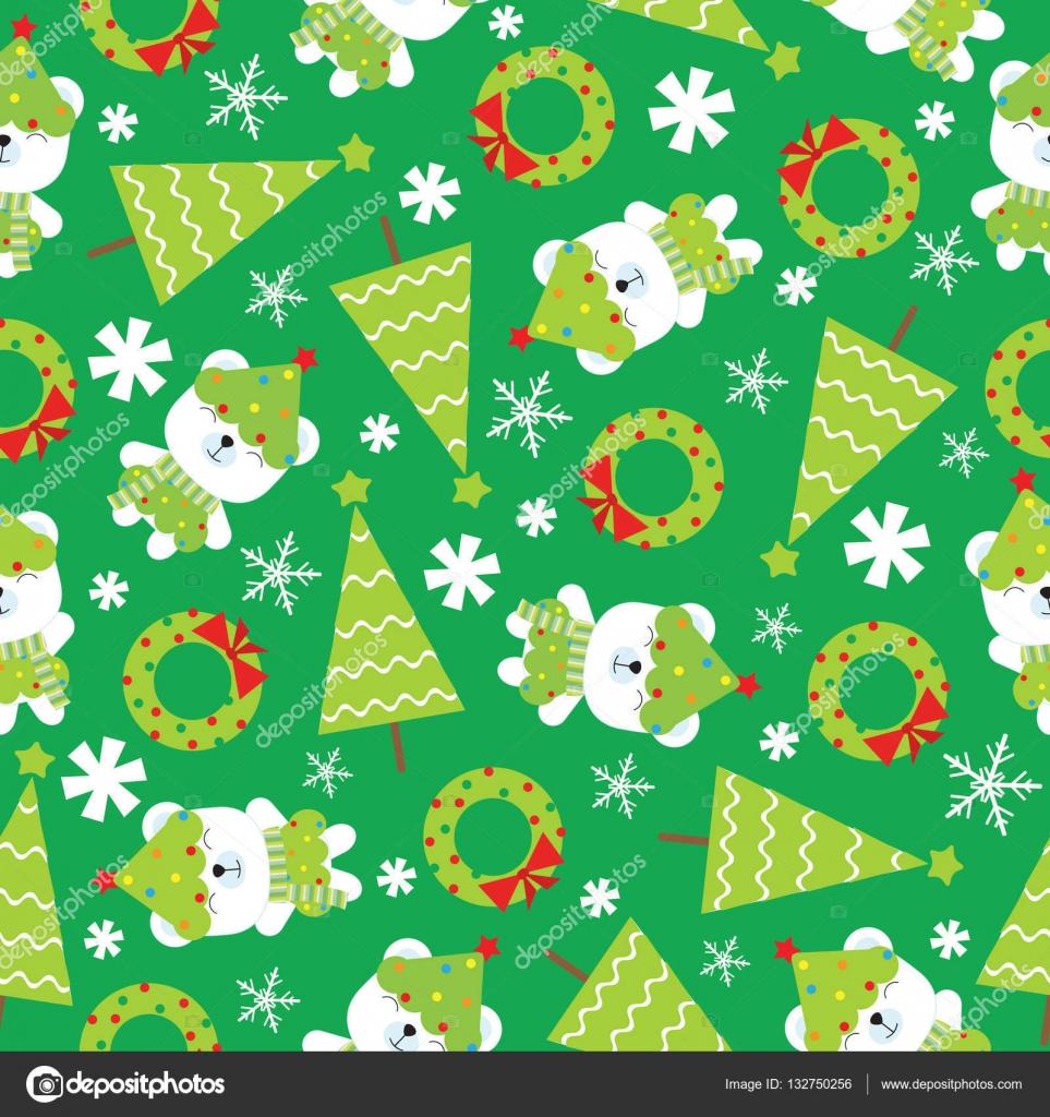 クリスマス イラストかわいい赤ちゃんクマクリスマス ツリー