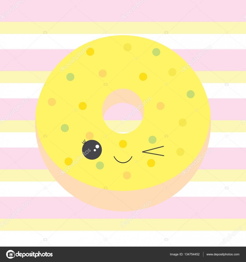 Baby Dusche Illustration Mit Niedlichen Gelben Donut Auf Streifen