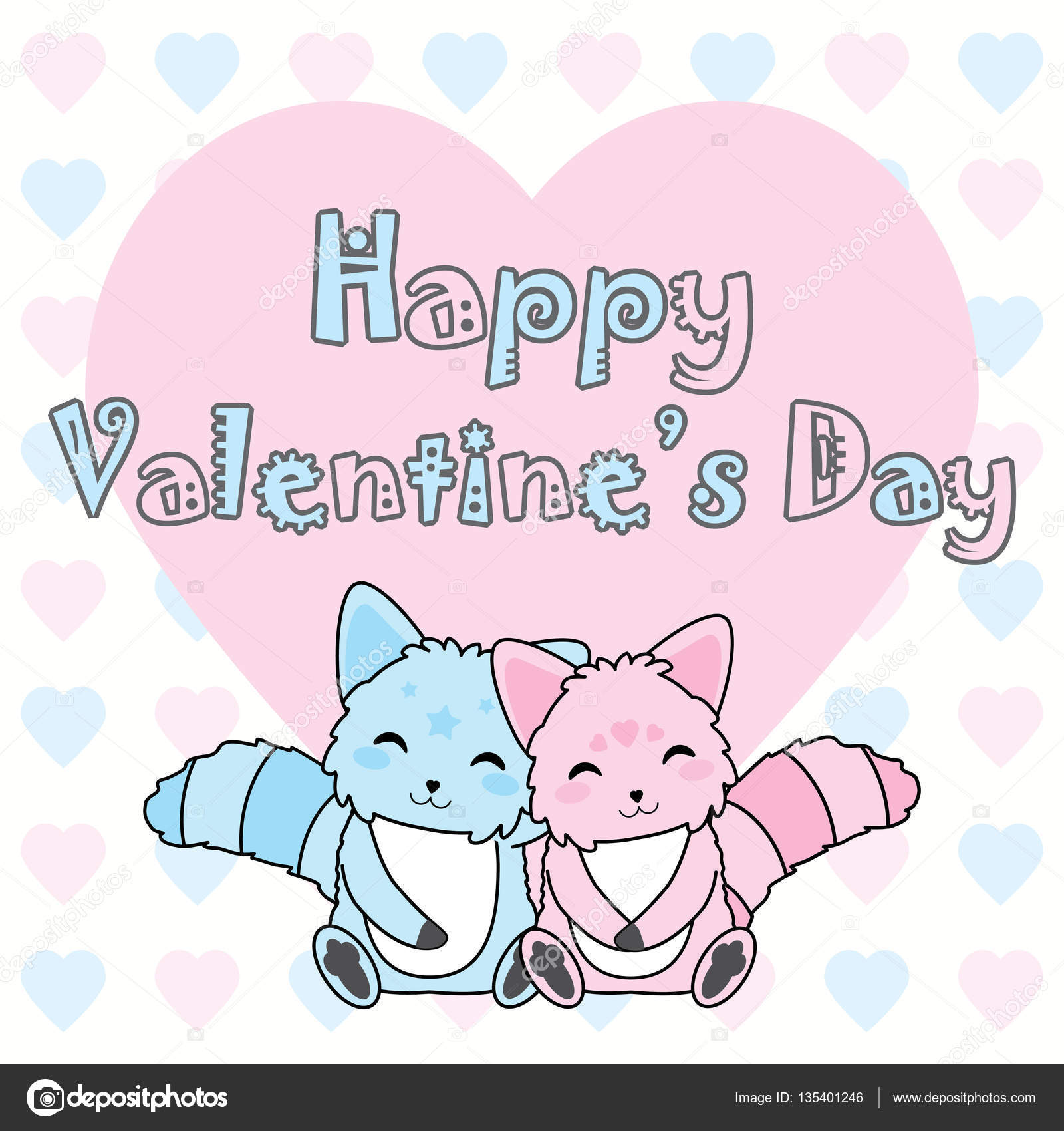 Valentine S Day Illustration With Cute Pink And Blue Dog On Love
