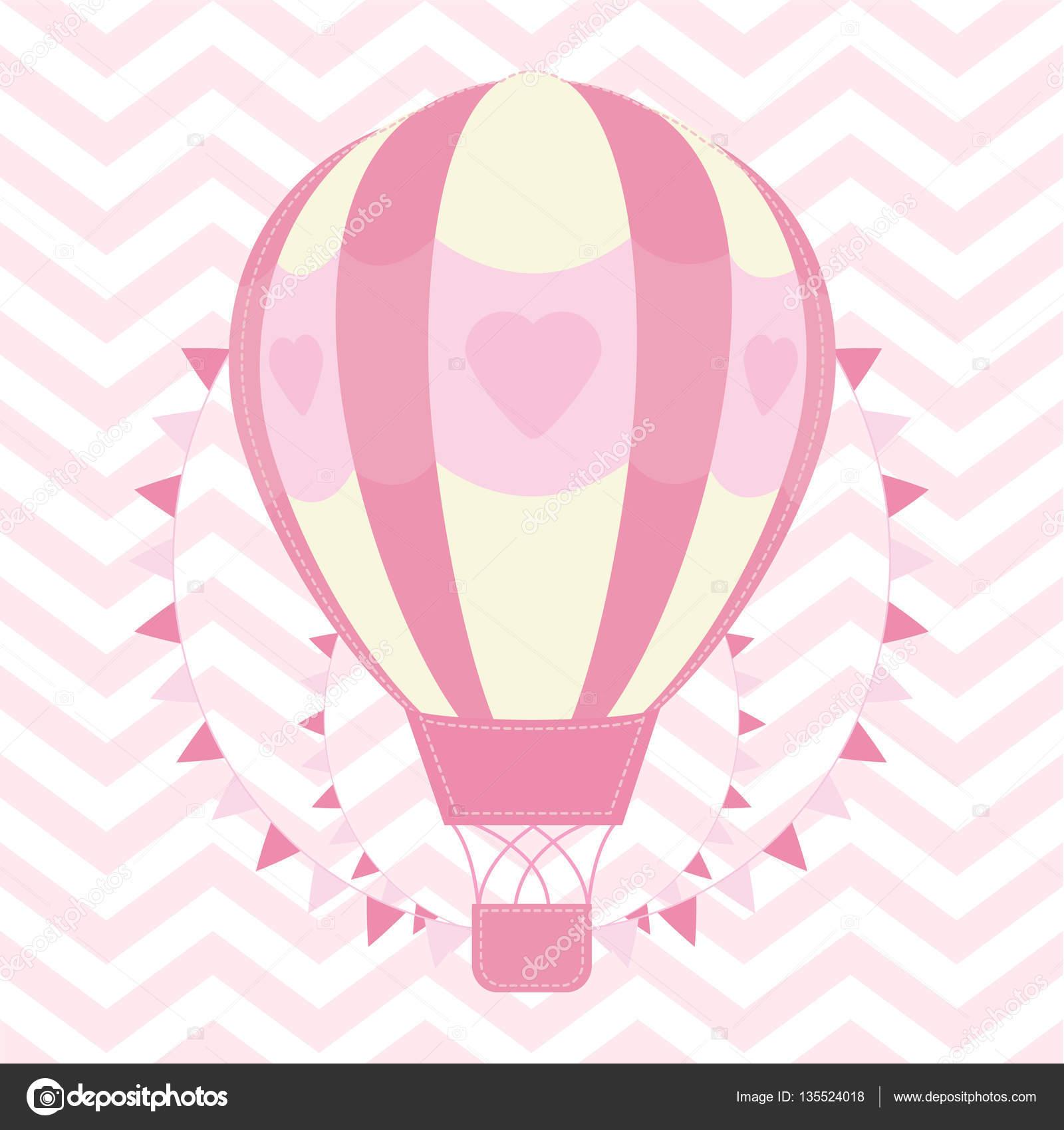 ilustraci u00f3n de la ducha con linda rosa globo aerost u00e1tico baby vector png baby vector toons