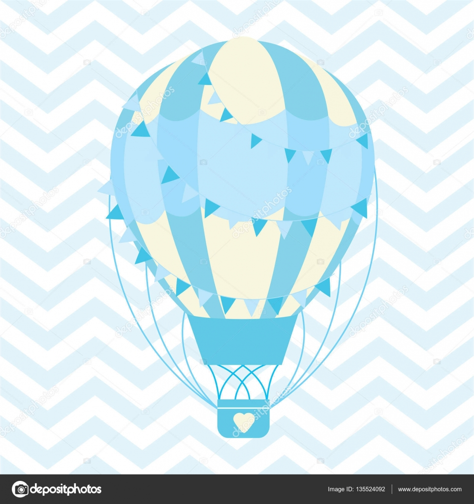 Baby Shower illustration with cute blue hot air balloon on chevron