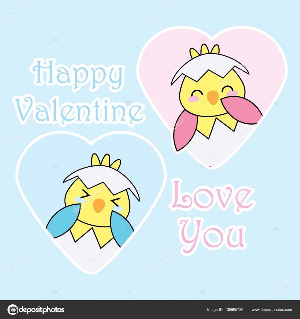 Valentine Abbildung mit niedlichen blauen und rosa Küken auf Liebe ...