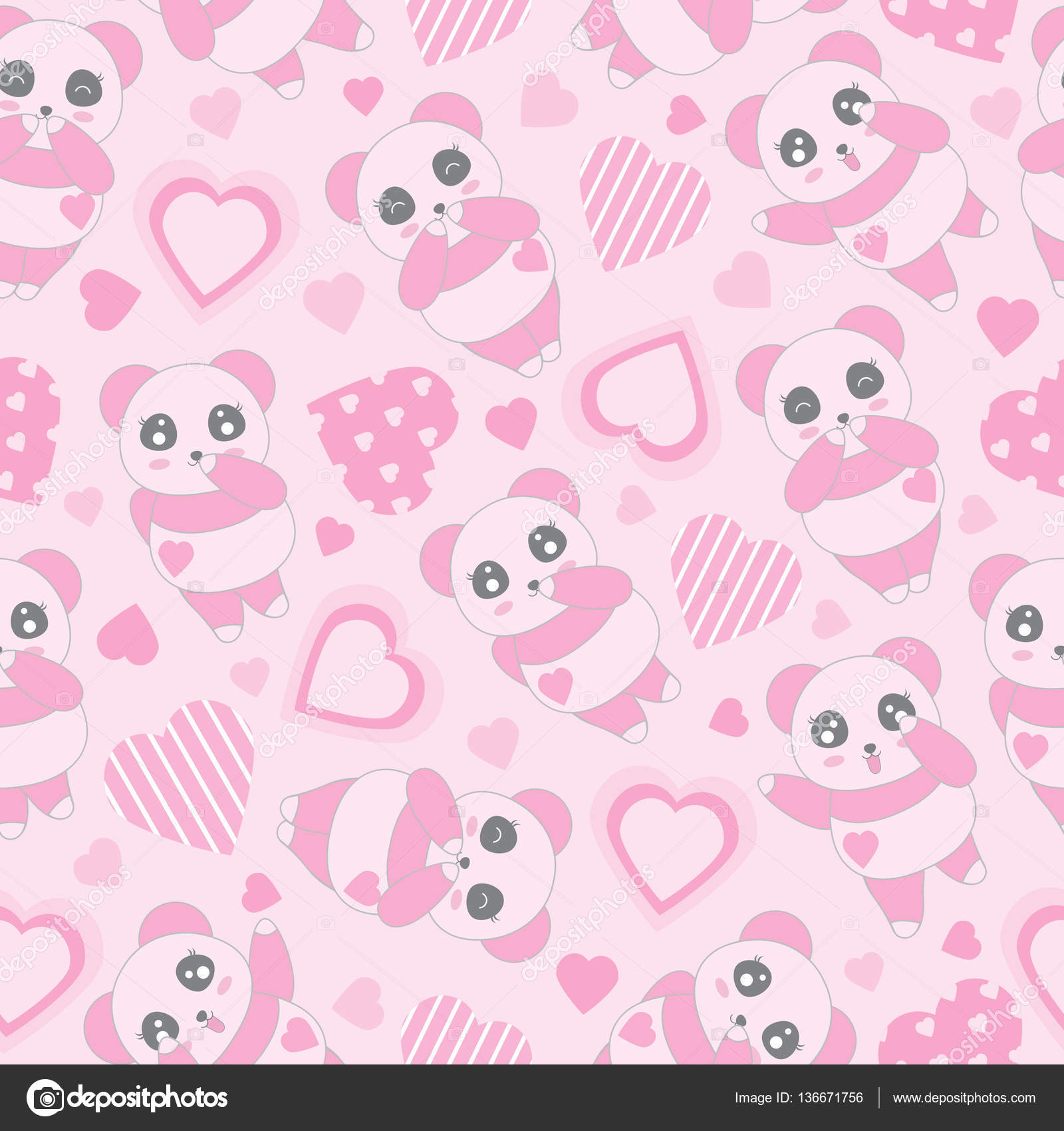 Seamless Background Of Valentines Day Illustration With Cute Baby Pink Panda And Love Shape On