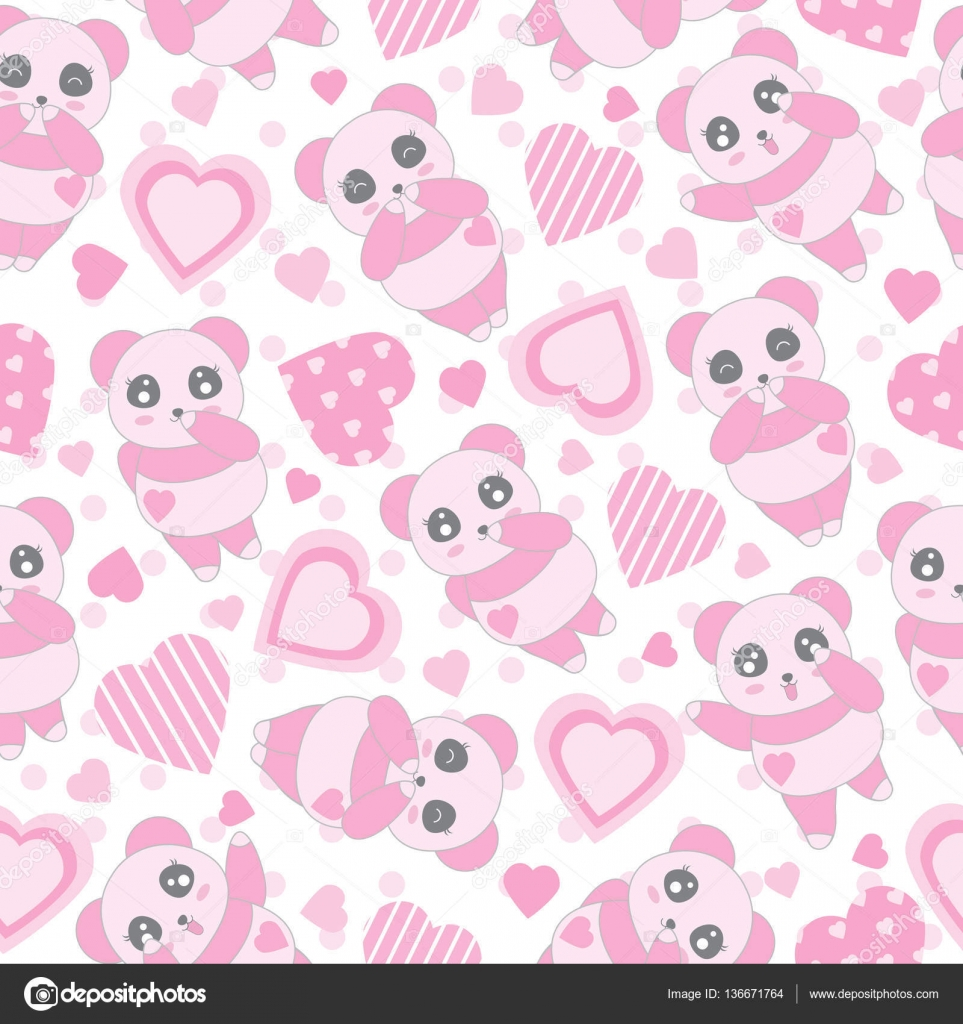 Seamless Background Of Valentines Day Illustration With Cute Baby Pink Panda And Love Shape On Polka
