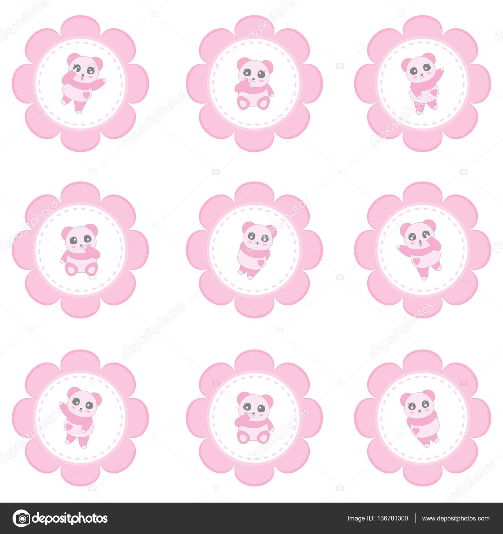 Ilustración del día de San Valentín con panda de niña en marco de ...