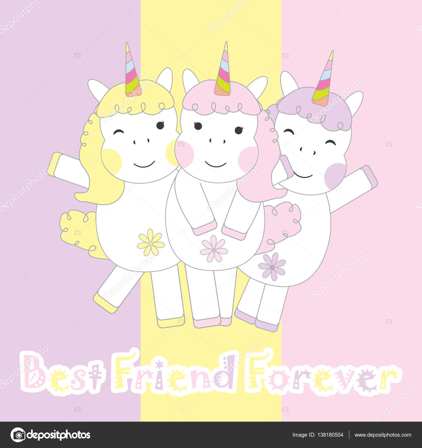 Friendship day card with cute three unicorns stock vector friendship day card with cute three unicorns suitable for friendship greeting card postcard and wallpaper vector by saidi21ns m4hsunfo Gallery