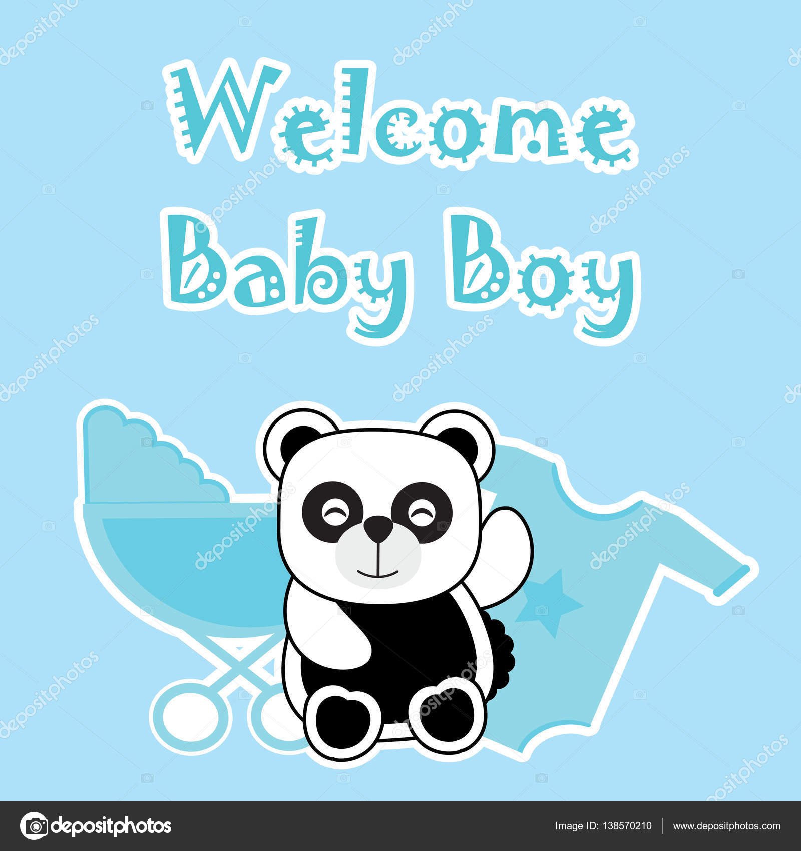 Baby shower card with baby panda, baby cart, and baby cloth — Stock ...