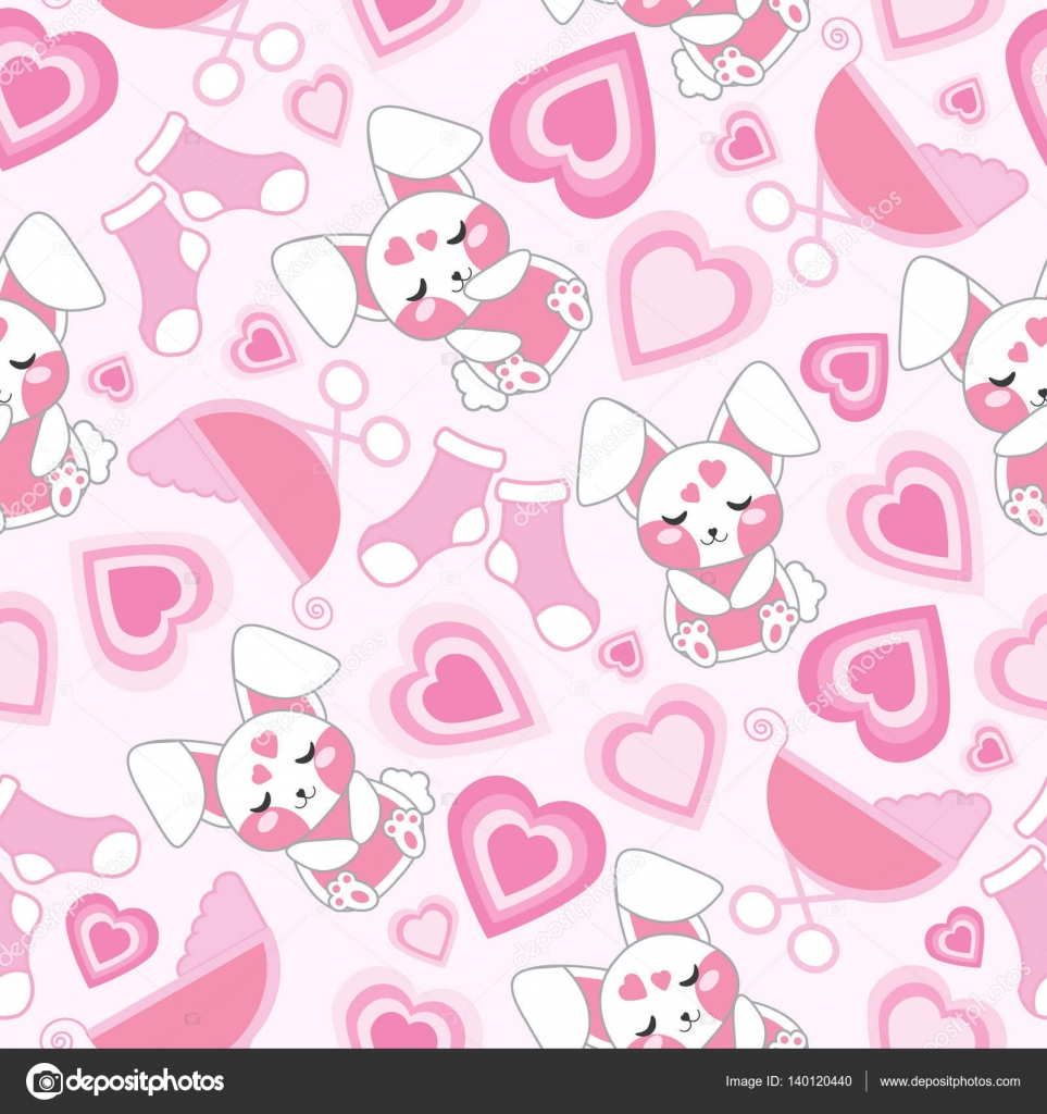 Baby Shower Seamless Pattern With Cute Rabbit Baby Cart Socks And