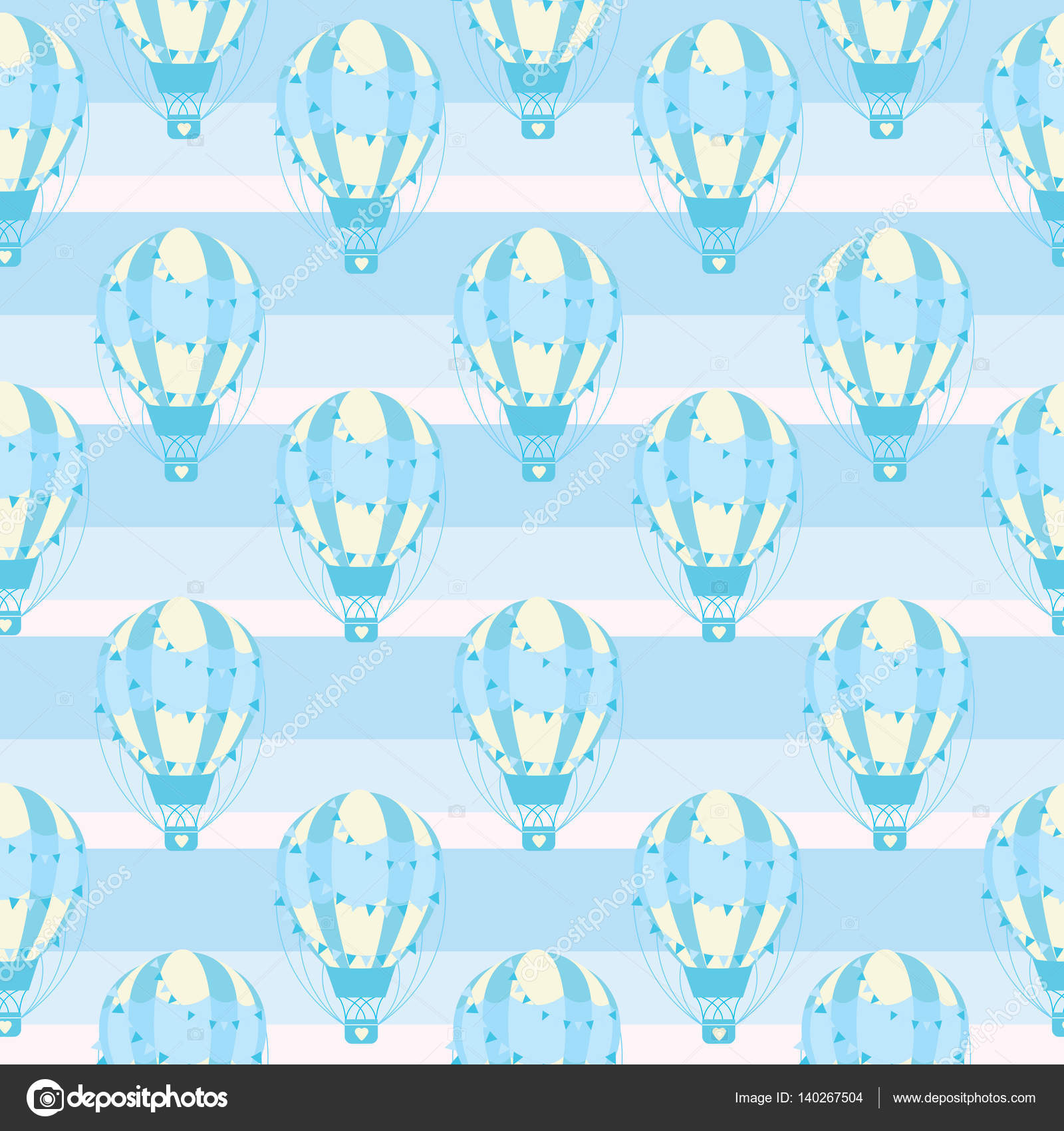 Baby shower seamless pattern with cute blue hot air balloon on