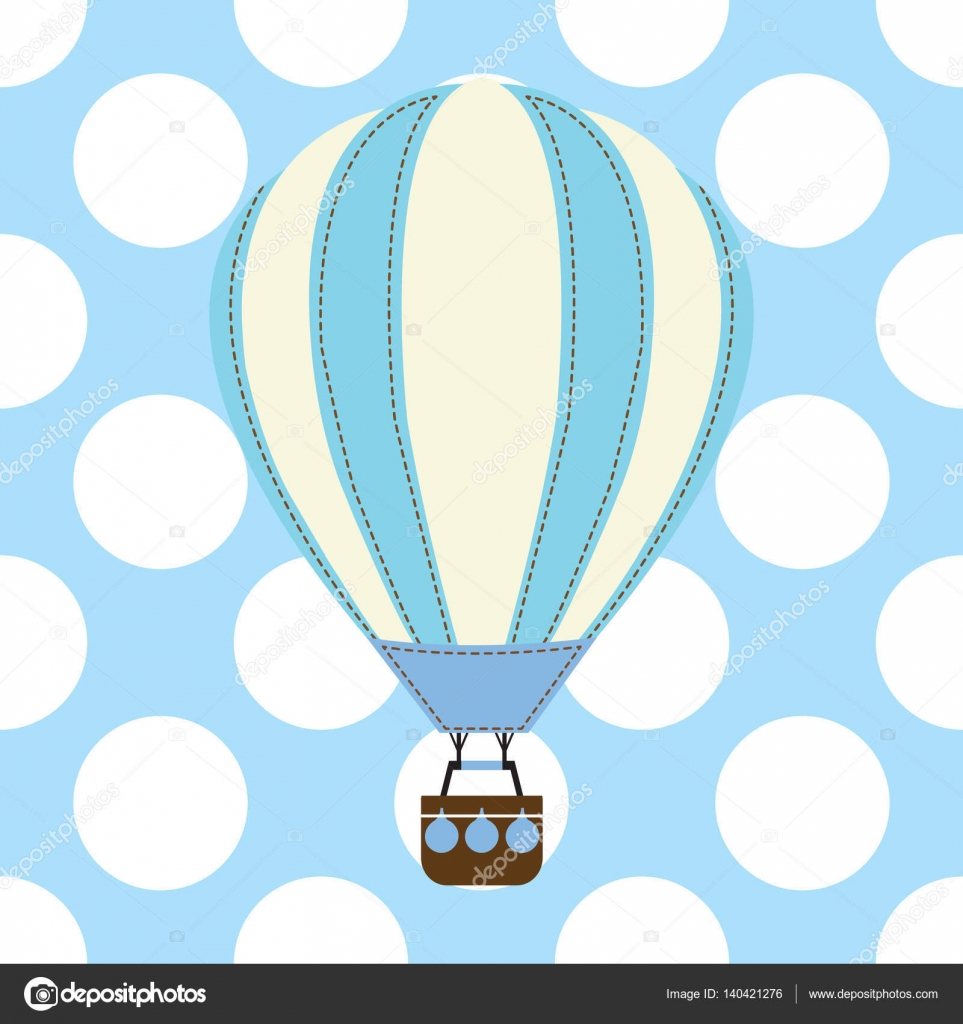 Baby Shower Card With Cute Hot Air Balloon On Blue