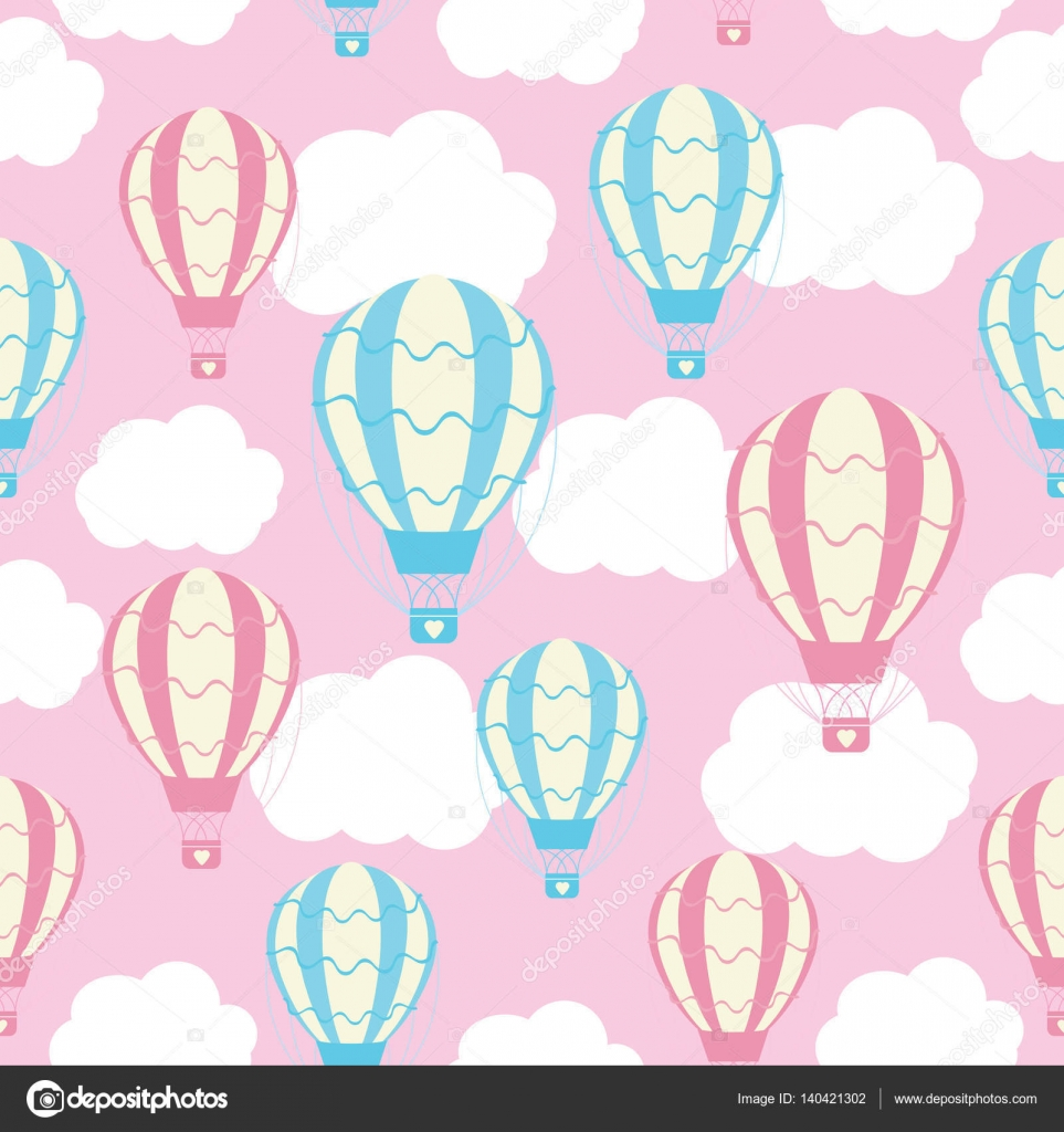 Baby Shower Seamless Pattern With Cute Hot Air Balloons On Pink Sky