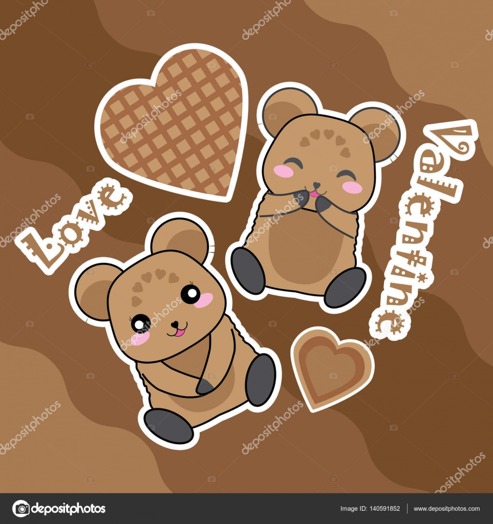Valentine Card With Cute Bear And Love Shape On Chocolate Background