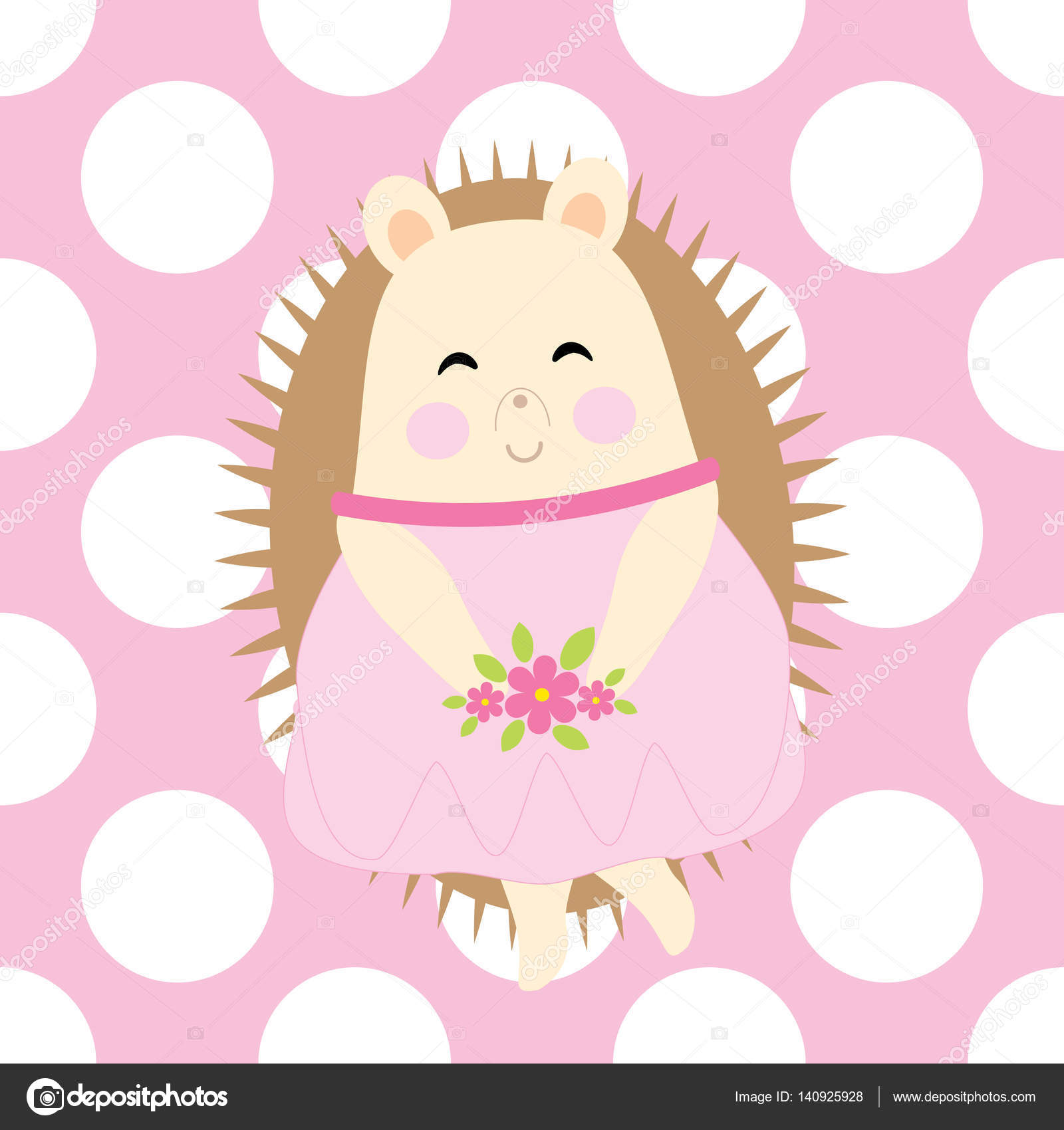 Baby shower card with cute hedgehog brings flowers on polka dot