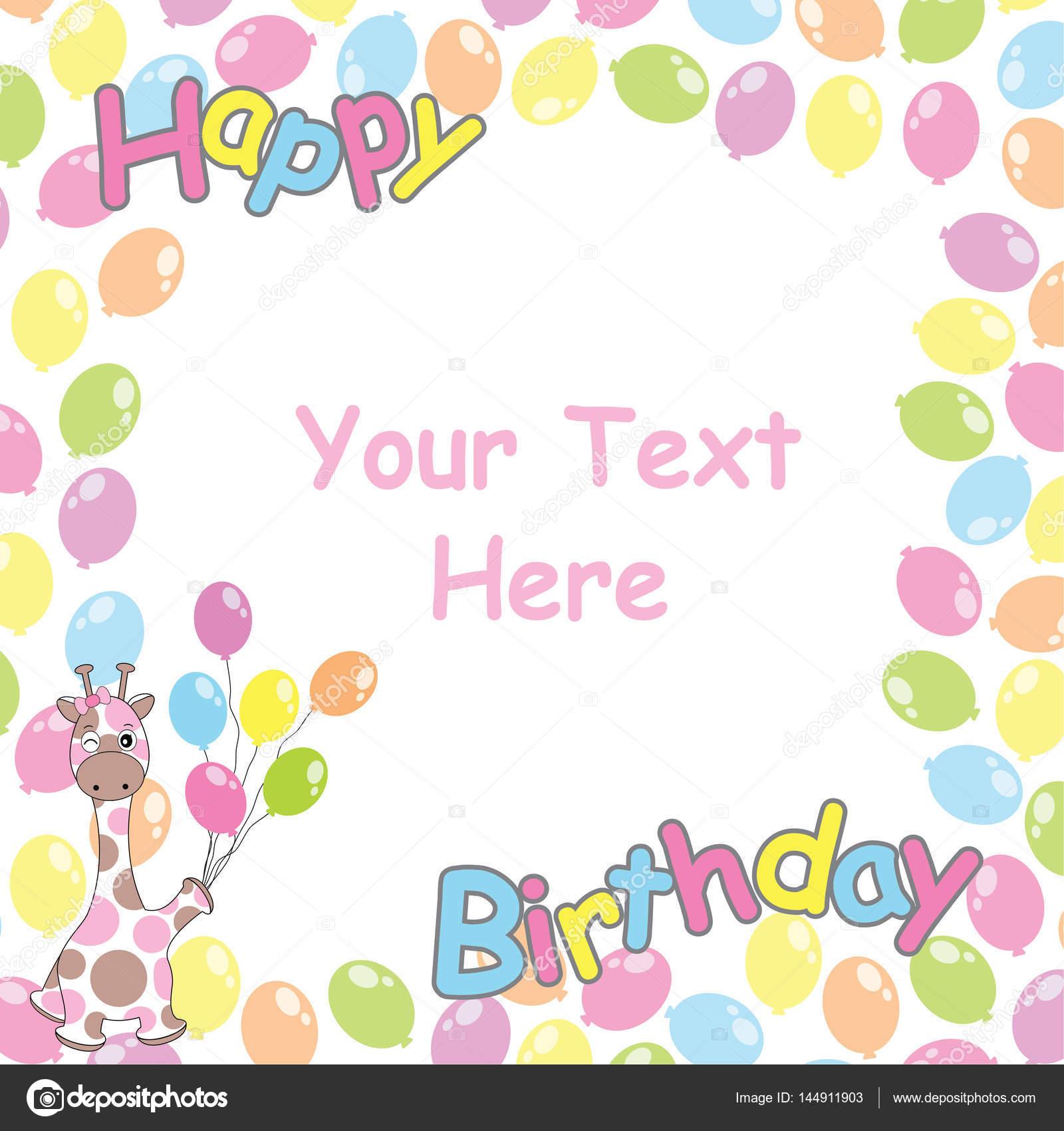 Geburtstagskarte mit niedlichen Giraffen und Ballons Rahmen