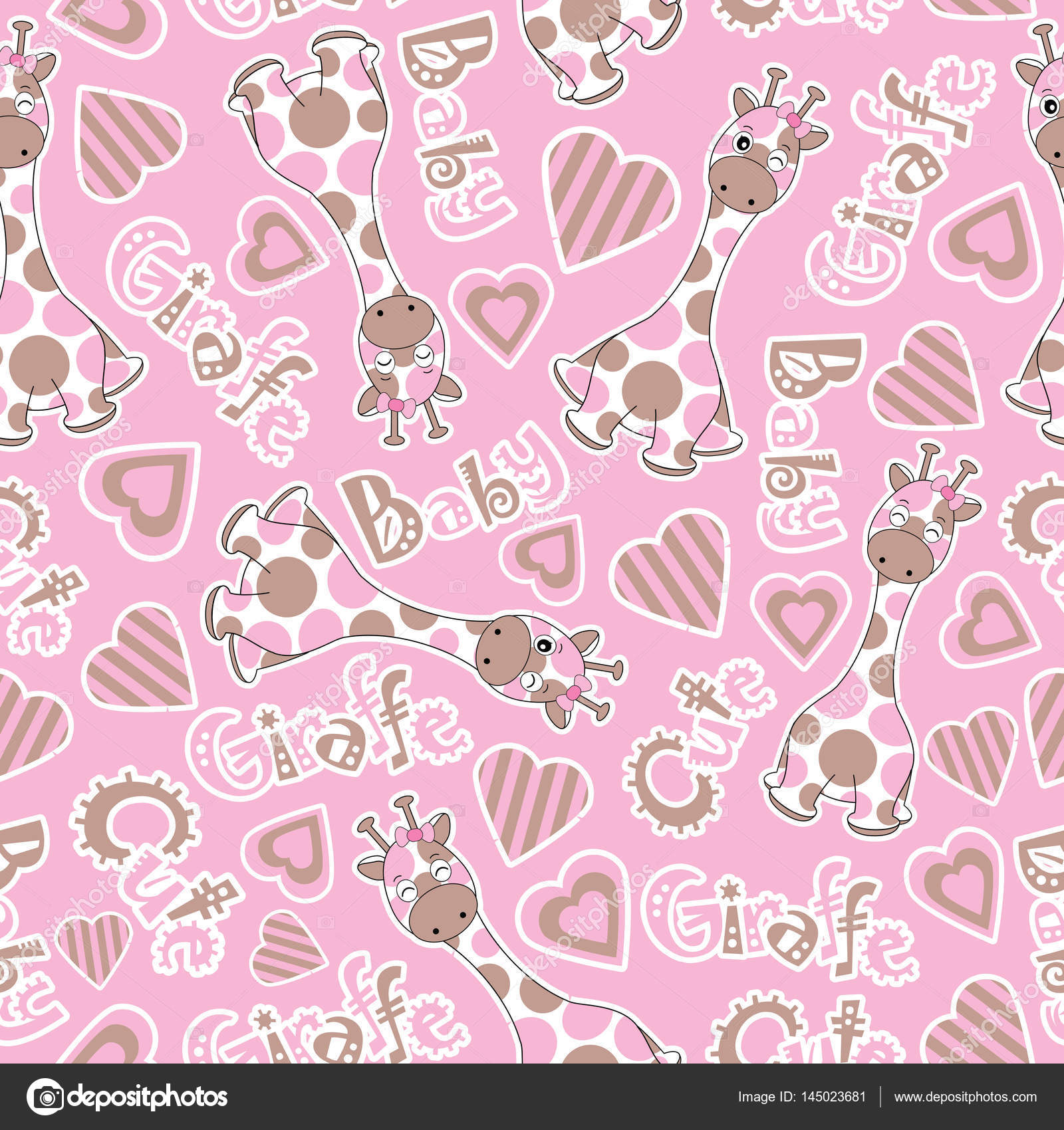 Baby shower seamless pattern with cute baby giraffe on pink background suitable for baby shower wallpaper, scrap paper, and postcard — Vector by saidi21ns