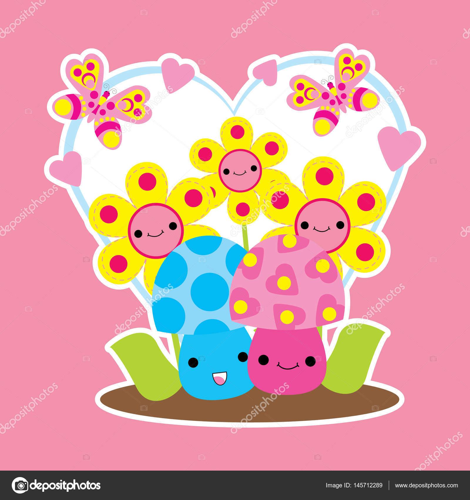 Valentine-Karte mit niedlichen Pilze und Blumen Cartoon auf Liebe ...