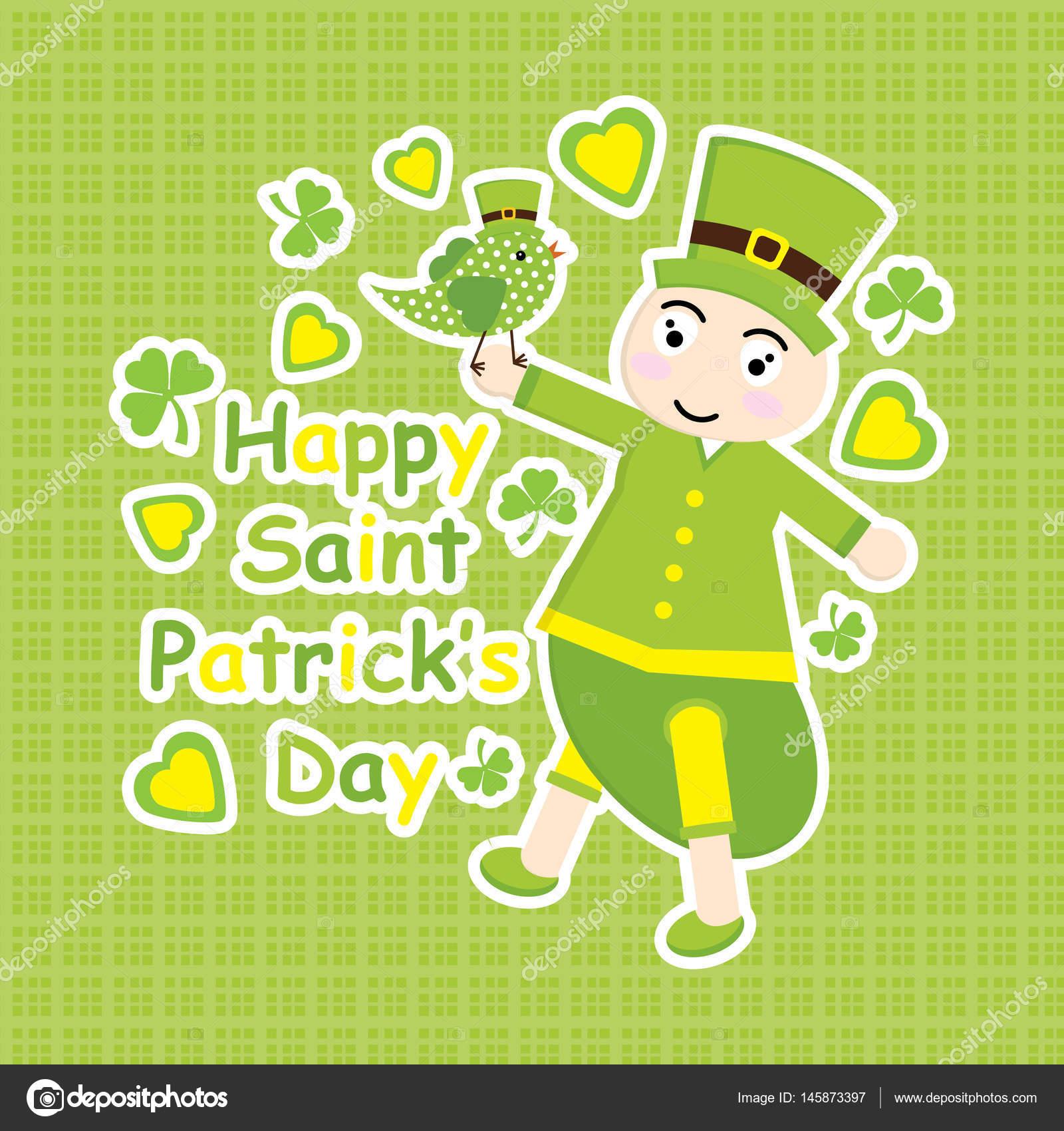Tarjeta del St. Patrick Day con aves de dibujos animados y verde ...