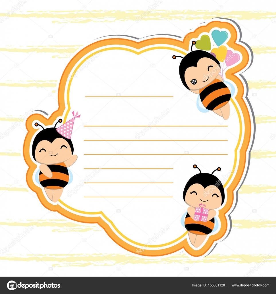 joli cadre avec abeilles mignons sur orange ch ssis adapt pour carte postale anniversaire. Black Bedroom Furniture Sets. Home Design Ideas