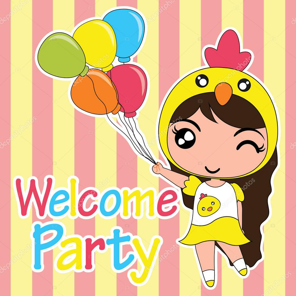 Birthday card vector cartoon illustration with cute chick girl brings balloons suitable for birthday invitation card design