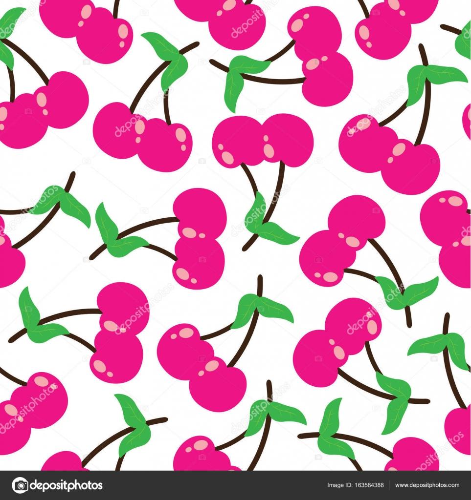 さくらんぼのシームレスなパターン ベクトル漫画イラスト フルーツ子供布
