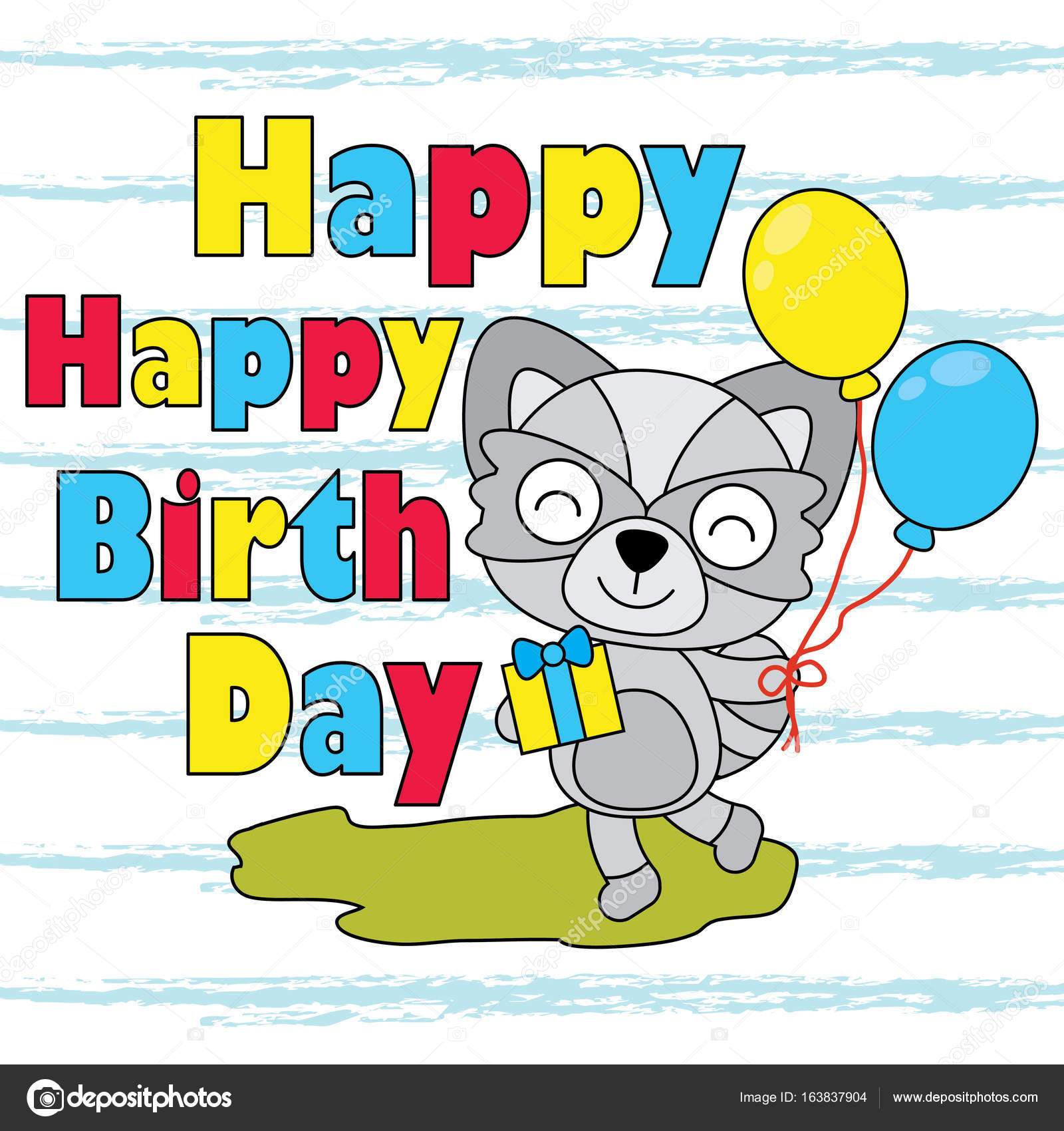 Vector Cartoon Illustration Of Cute Fox Boy Brings Balloon