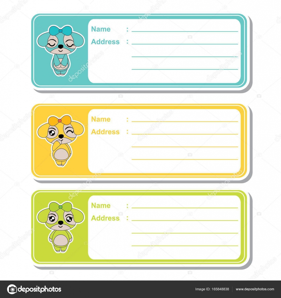 address label vector cartoon with cute puppy girls on colorful
