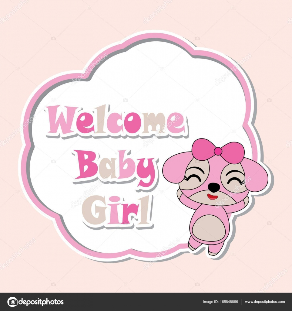 Vector cartoon illustration with cute puppy girls on pink flower ...