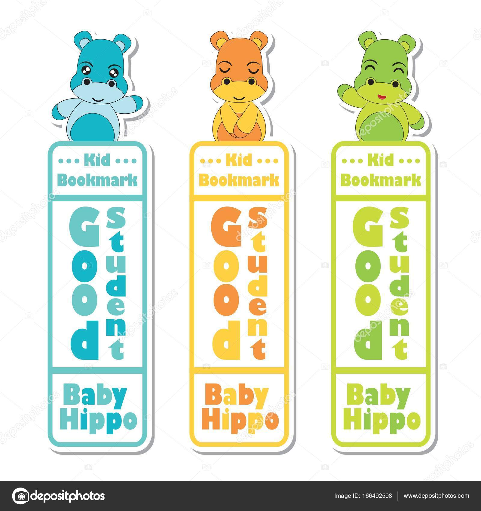 bookmark label vector cartoon with cute baby hippos on colorful