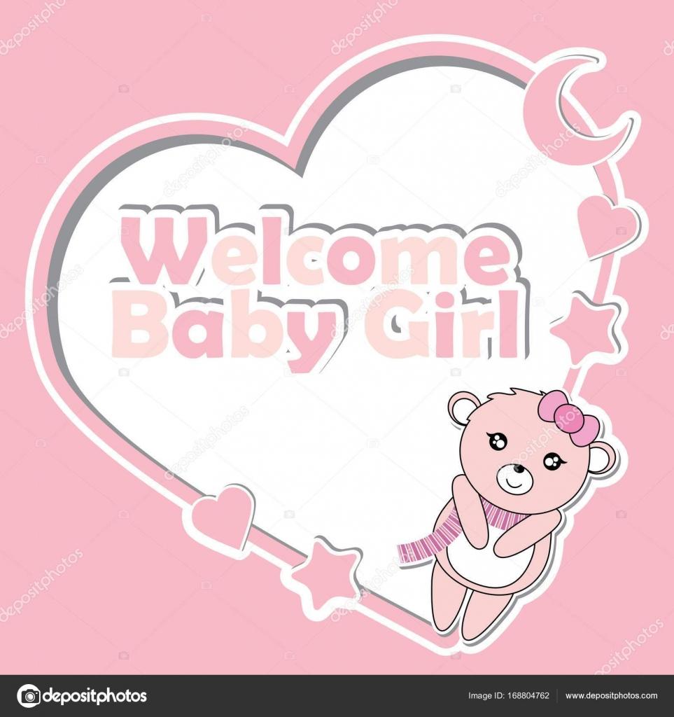 Vector cartoon illustration with cute baby bear girl on love frame ...