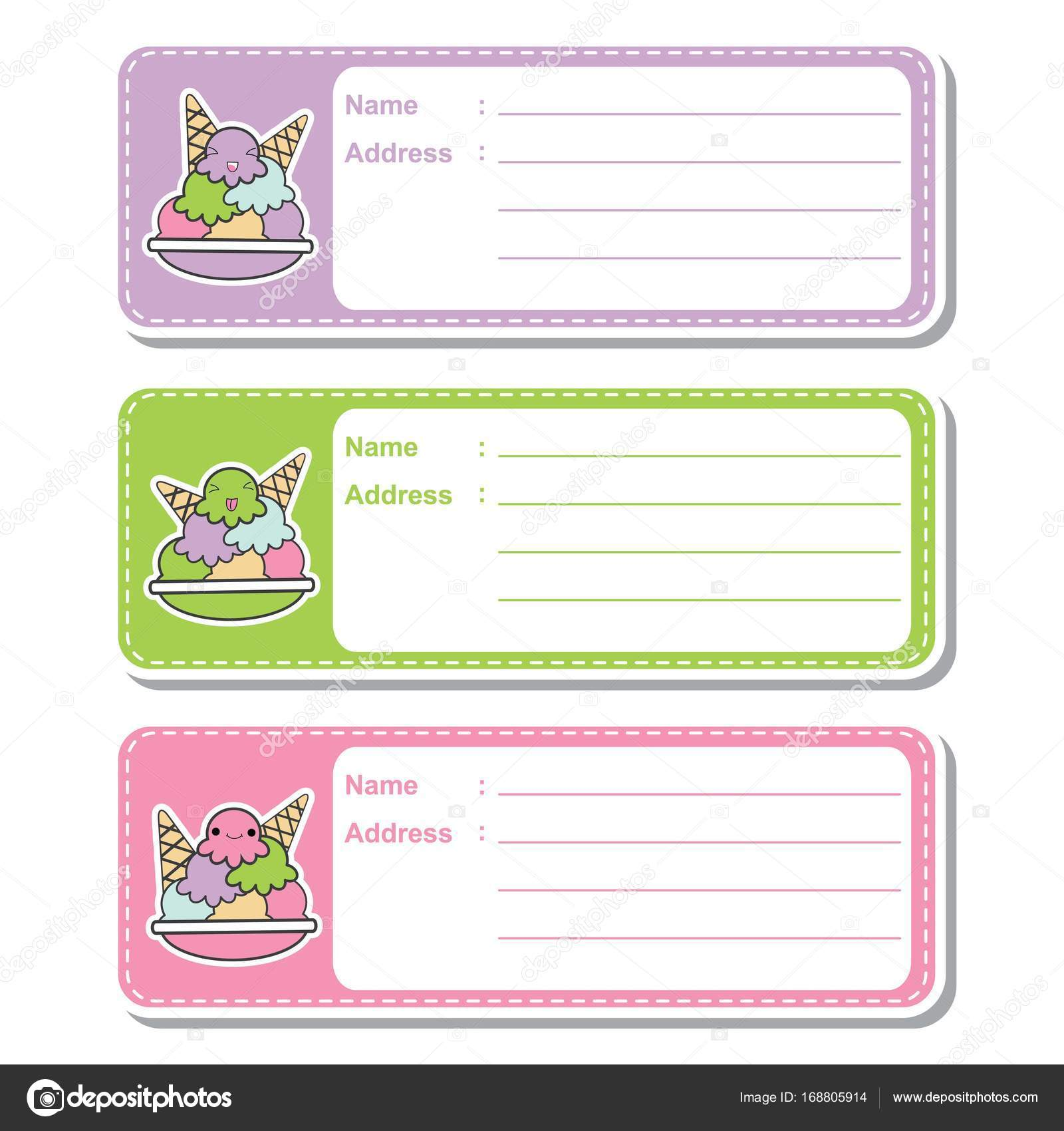 Vector Cartoon Illustration With Cute Ice Creams On Colorful Background Suitable For Kid Address Label Design