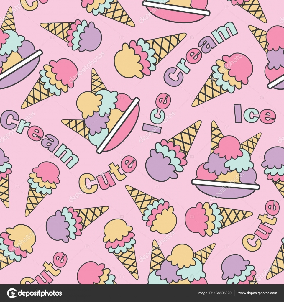 Seamless pattern with cute ice creams on pink background vector cartoon suitable for kid birthday wallpaper