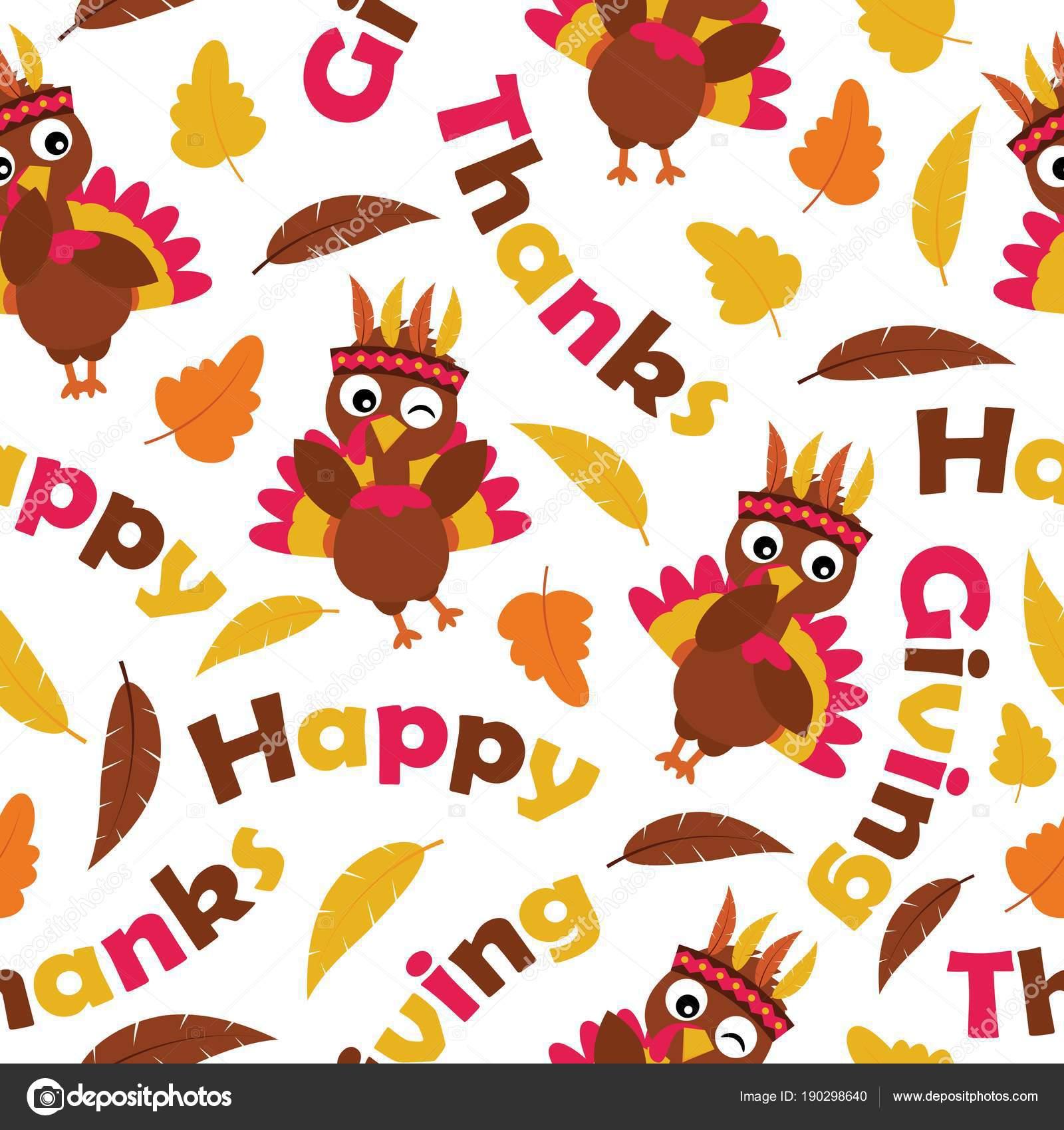Cute Thanksgiving Wallpaper Seamless Pattern Cute Turkeys