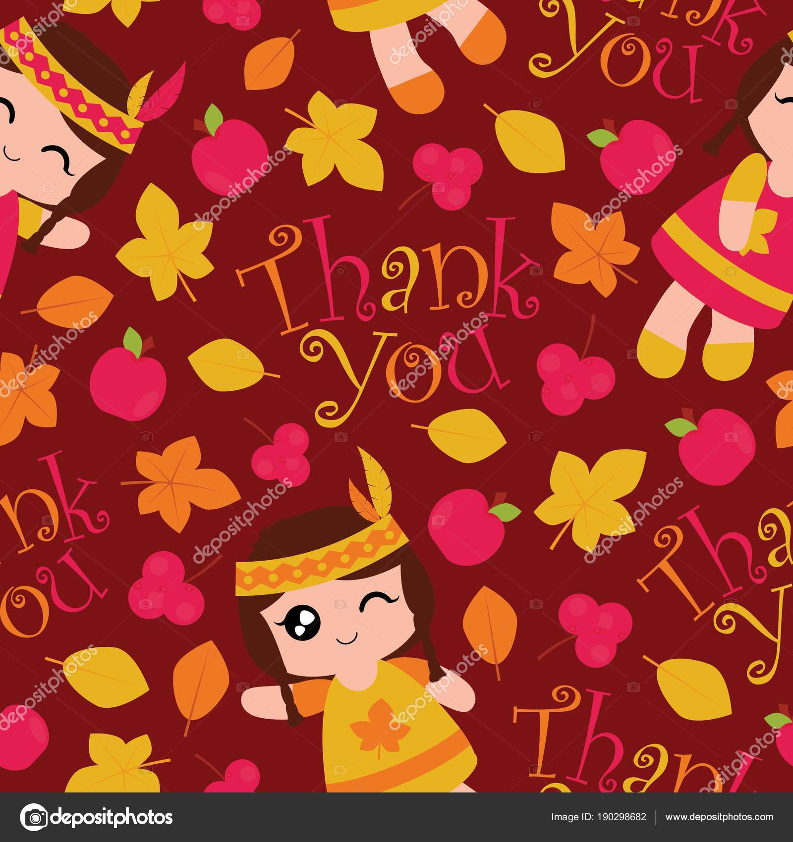 Seamless Pattern With Cute Indian Girls Apples And Maple Leaves On Red Background Vector Cartoon Suitable For Thanksgiving Wallpaper Design