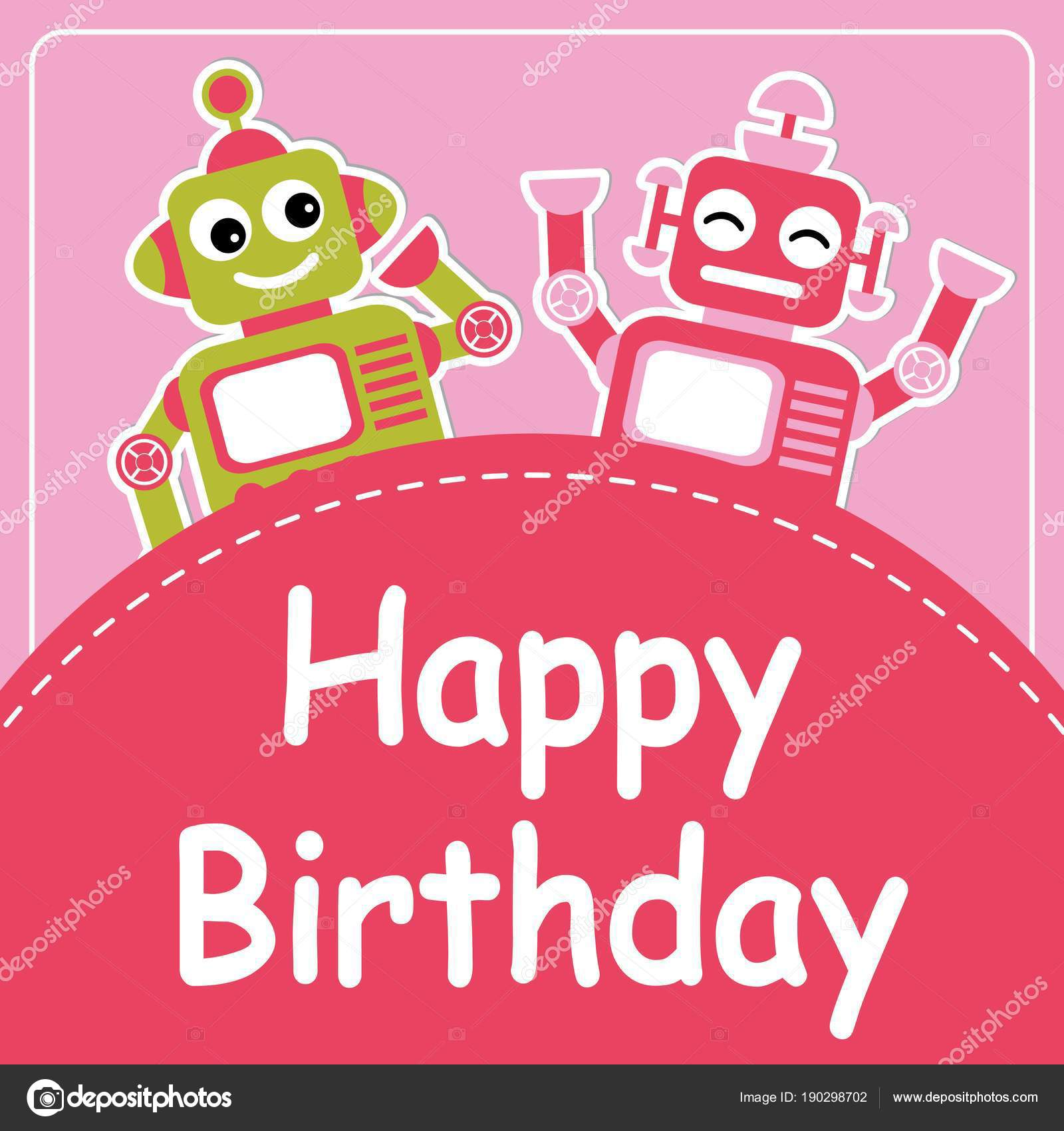Vector Cartoon Illustration Cute Two Robots Pink Background Suitable ...